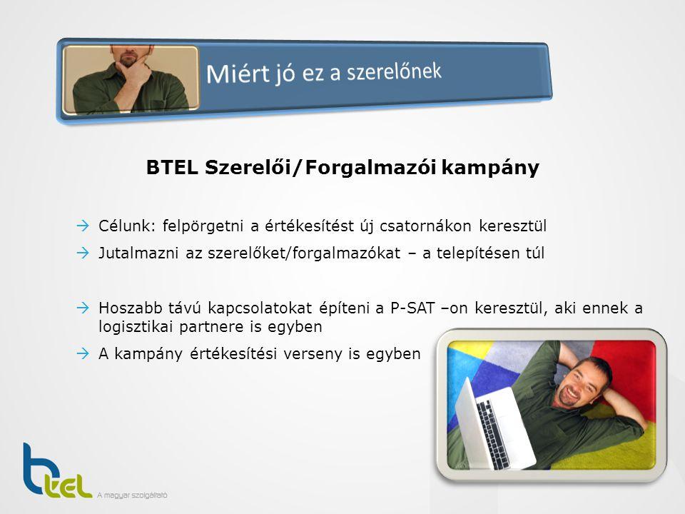 BTEL Szerelői/Forgalmazói kampány  Célunk: felpörgetni a értékesítést új csatornákon keresztül  Jutalmazni az szerelőket/forgalmazókat – a telepítés