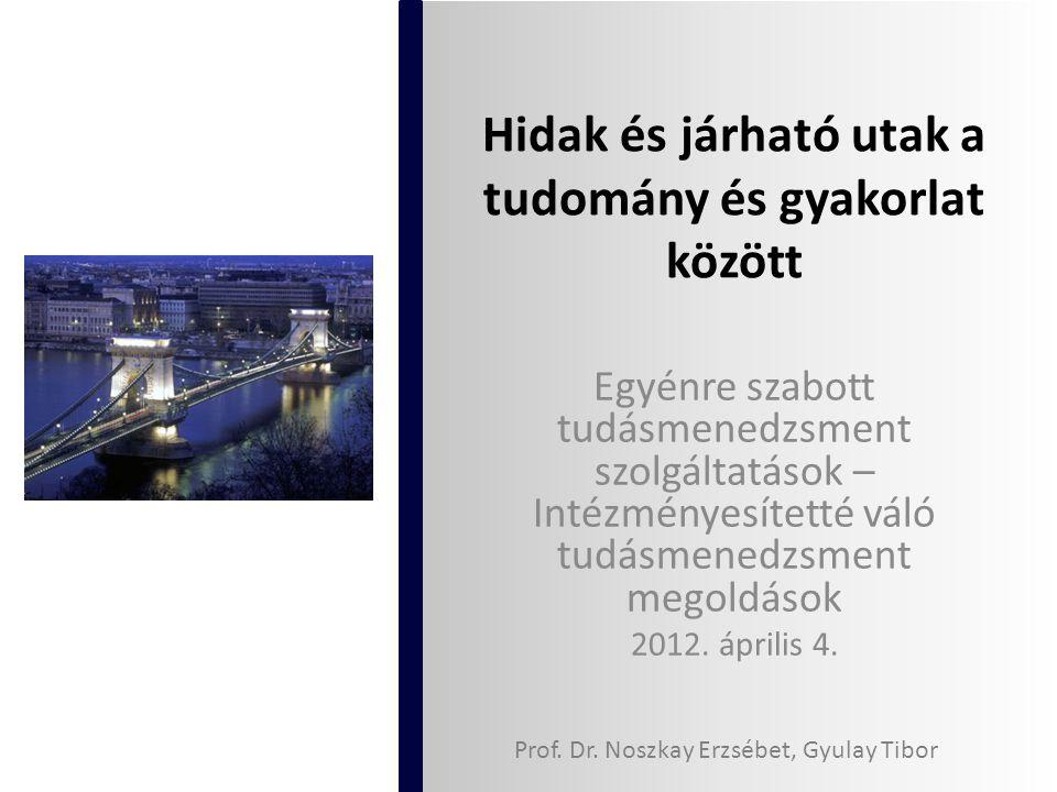 Hidak és járható utak a tudomány és gyakorlat között Egyénre szabott tudásmenedzsment szolgáltatások – Intézményesítetté váló tudásmenedzsment megoldások 2012.