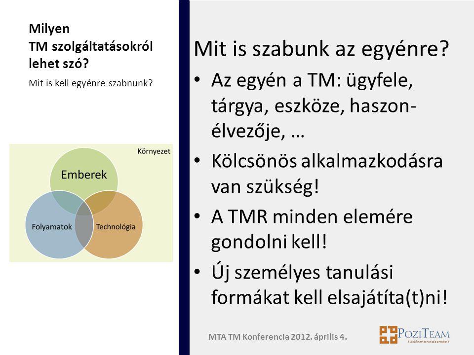 MTA TM Konferencia 2012. április 4. Milyen TM szolgáltatásokról lehet szó.