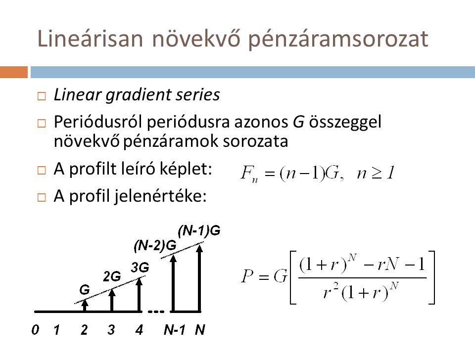 Lineárisan növekvő pénzáramsorozat  Linear gradient series  Periódusról periódusra azonos G összeggel növekvő pénzáramok sorozata  A profilt leíró