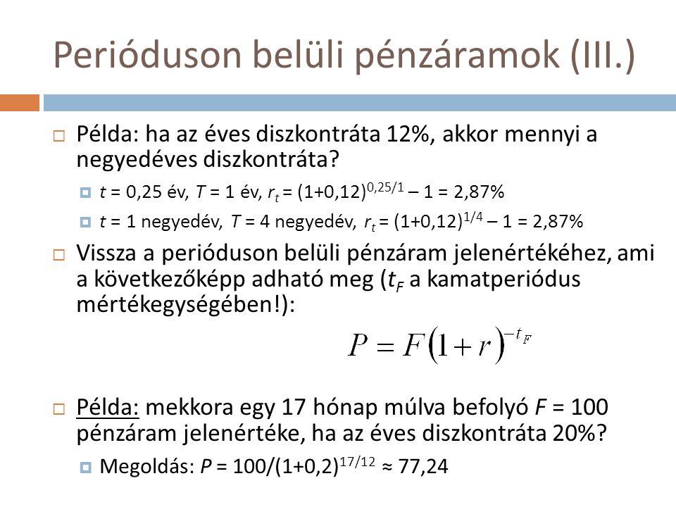 Perióduson belüli pénzáramok (III.)  Példa: ha az éves diszkontráta 12%, akkor mennyi a negyedéves diszkontráta?  t = 0,25 év, T = 1 év, r t = (1+0,
