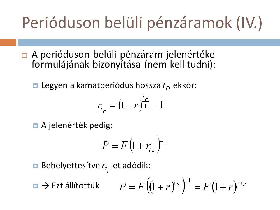 Perióduson belüli pénzáramok (IV.)  A perióduson belüli pénzáram jelenértéke formulájának bizonyítása (nem kell tudni):  Legyen a kamatperiódus hoss