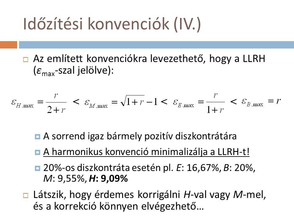 Időzítési konvenciók (IV.)  Az említett konvenciókra levezethető, hogy a LLRH (ε max -szal jelölve):  A sorrend igaz bármely pozitív diszkontrátára