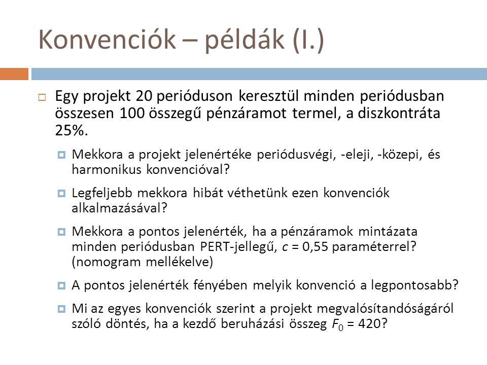 Konvenciók – példák (I.)  Egy projekt 20 perióduson keresztül minden periódusban összesen 100 összegű pénzáramot termel, a diszkontráta 25%.  Mekkor