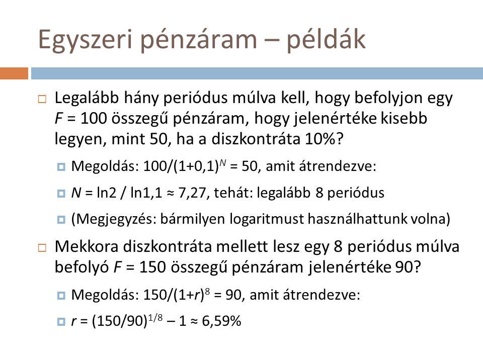 Egyszeri pénzáram – példák  Legalább hány periódus múlva kell, hogy befolyjon egy F = 100 összegű pénzáram, hogy jelenértéke kisebb legyen, mint 50,