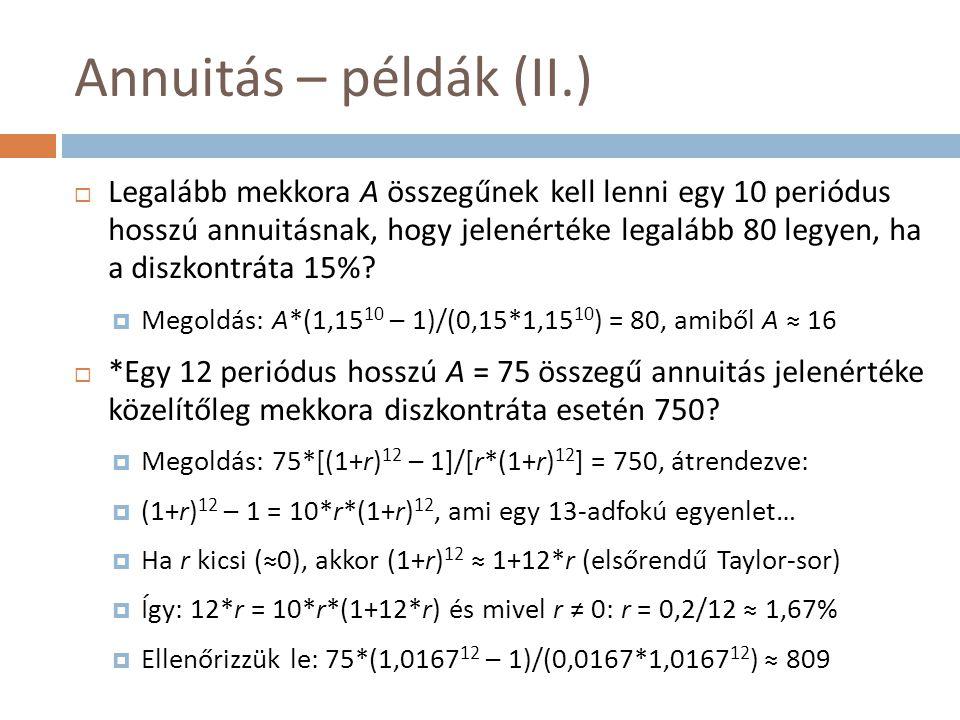 Annuitás – példák (II.)  Legalább mekkora A összegűnek kell lenni egy 10 periódus hosszú annuitásnak, hogy jelenértéke legalább 80 legyen, ha a diszk