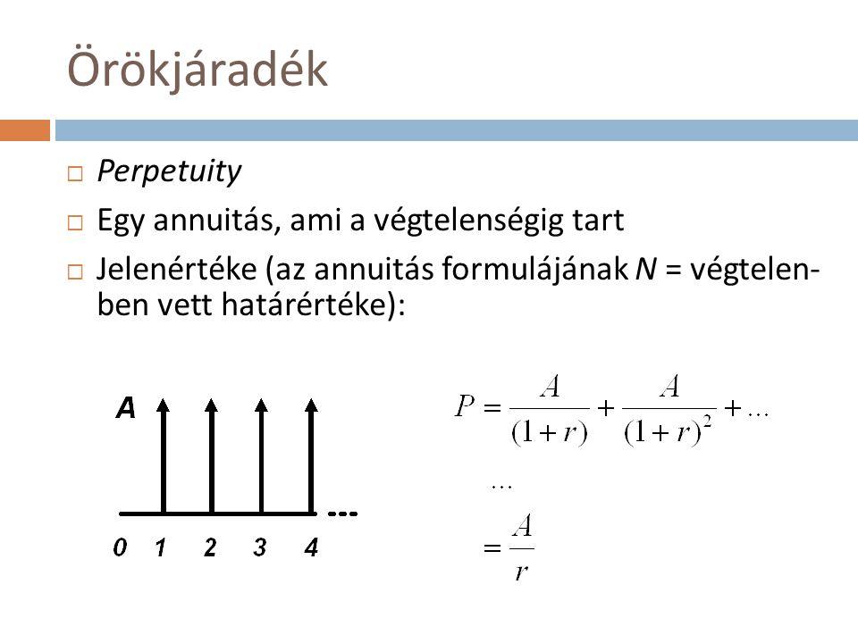 Konvenciók – példák (II.)  Megoldások:  Periódusvégi jelenérték: az ismert annuitás-képlettel: P E = 100*(1,25 20 – 1)/(0,25*1,25 20 ) ≈ 395  Periódus-eleji jelenérték: P B = P E *1,25 = 494  Periódus-közepi jelenérték: P M = P E *1,25 1/2 = 442  Harmonikus jelenérték: P H = P E *1,25/1,125 = 439  LLRH-k: E: 0,25/1,25 = 20%; M: 1,25 1/2 – 1 = 11,8%; B: 0,25 = 25%; H: 0,25/2,25 = 11,1%  Nomogramon c = 0,55 és r = 25% kombináció: E: -10%, amiből P pontos = 395/(1 – 0,1) = 439  Ebből látszik, hogy jelen esetben a harmonikus konvenció a legpontosabb (éppen mondjuk teljesen pontos…)  A periódusvégi kivételével mindegyiknél pozitív az NPV, tehát a projekt megvalósítandó (és valóban, mert 439 – 420 = 19 > 0)