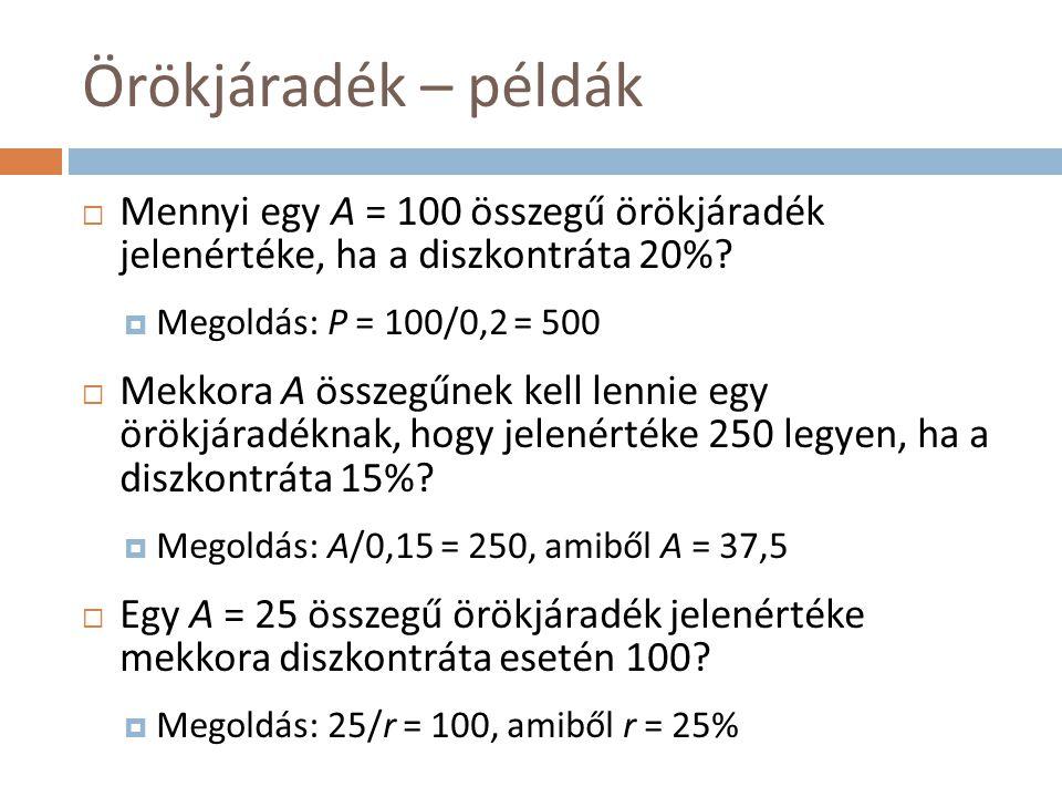 Örökjáradék – példák  Mennyi egy A = 100 összegű örökjáradék jelenértéke, ha a diszkontráta 20%?  Megoldás: P = 100/0,2 = 500  Mekkora A összegűnek