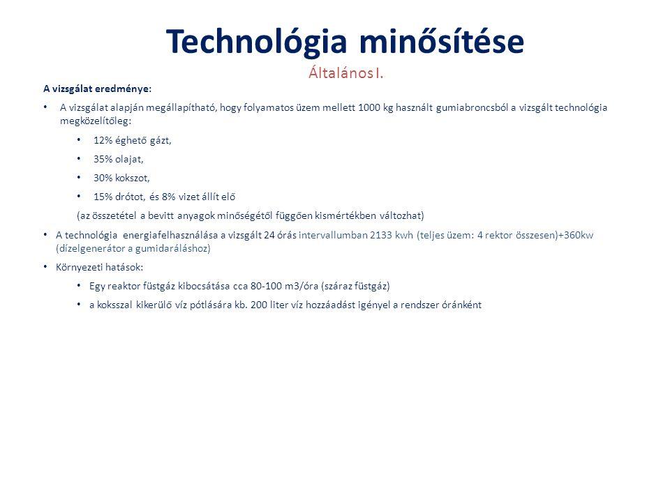 Technológia minősítése Általános I. A vizsgálat eredménye: • A vizsgálat alapján megállapítható, hogy folyamatos üzem mellett 1000 kg használt gumiabr