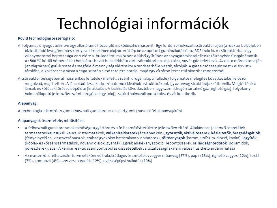 Technológiai információk Rövid technológiai összefoglaló: A folyamat lényegét tekintve egy ellenáramú hőcserélő működéséhez hasonlít. Egy ferdén elhel