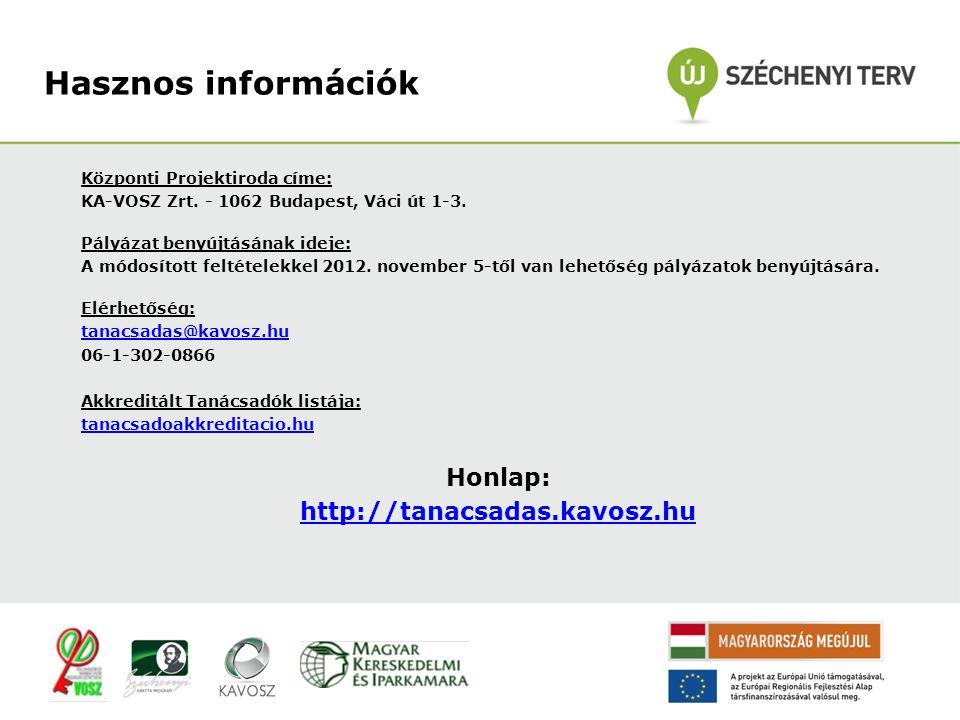 Központi Projektiroda címe: KA-VOSZ Zrt. - 1062 Budapest, Váci út 1-3.