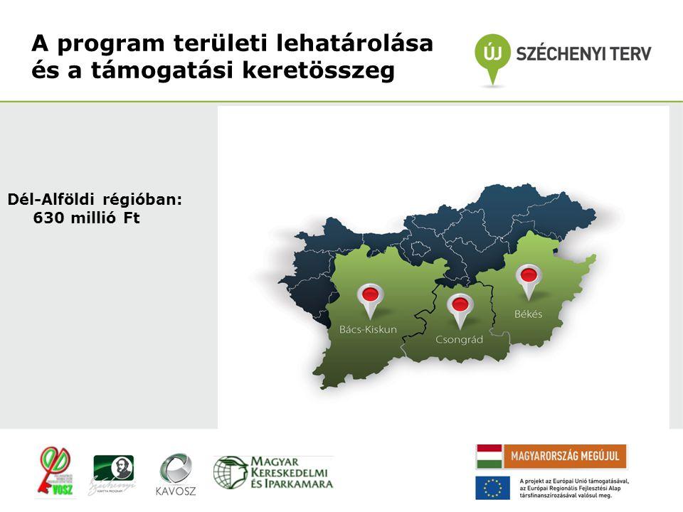 Dél-Alföldi régióban: 630 millió Ft A program területi lehatárolása és a támogatási keretösszeg