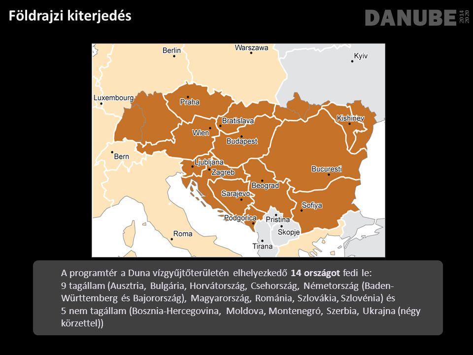 Földrajzi kiterjedés DANUBE 2014 2020 A programtér a Duna vízgyűjtőterületén elhelyezkedő 14 országot fedi le: 9 tagállam (Ausztria, Bulgária, Horváto
