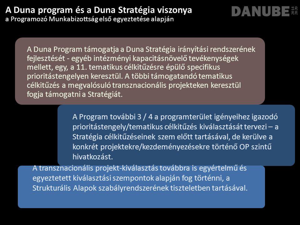 Másodlagos preferencia (a Duna Ország többségénak támogatásával) : TO4: az alacsony szén-dioxid-kibocsátású gazdaságra való áttérés TO5: az éghajlatváltozáshoz való alkalmazkodás, valamint a kockázatok megelőzésének és kezelésének elősegítése Horizontális jelentőség: TO3: a kkv-k versenyképességének fokozása TO8: a fenntartható és minőségi foglalkoztatás és a munkavállalói mobilitás ösztönzése TO9: a társadalmi befogadás előmozdítása és a szegénység és mindenfajta diszkrimináció elleni küzdelem TO10: beruházás az oktatásba, képzésbe, szakképzésbe a készségekért és az egész életen át tartó tanulásért Elsődleges preferencia (valamennyi Duna Ország támogatásával) : TO1: a kutatás, a technológiai fejlesztés és az innováció szerepének erősítése TO6: a környezet megőrzése, védelme, és az erőforrás-hatékonyság elősegítése TO7: a fenntartható közlekedés elősegítése és a kulcsfontosságú hálózati TO11: a közszereplők és érintettek intézményi kapacitásának javítása és a közigazgatás hatékonyságának fokozása Tematikus preferenciák a Programozó Munkabizottság első egyeztetése alapján DANUBE 2014 2020