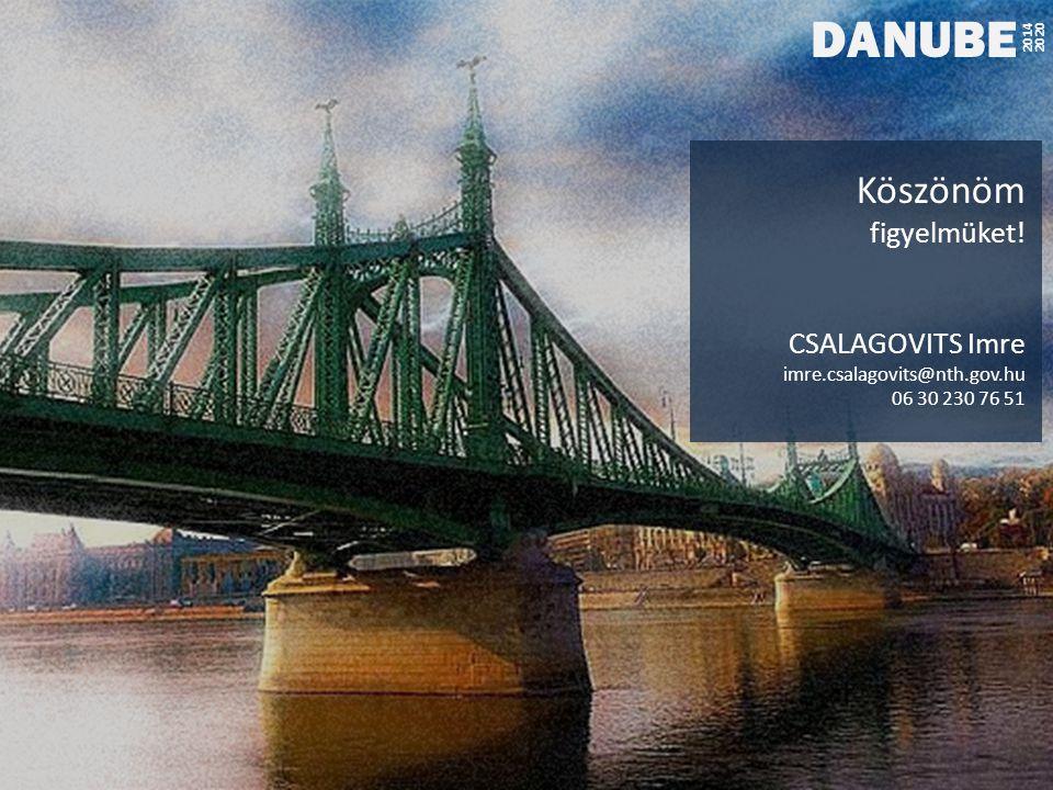 DANUBE 2014 2020 Köszönöm figyelmüket! CSALAGOVITS Imre imre.csalagovits@nth.gov.hu 06 30 230 76 51
