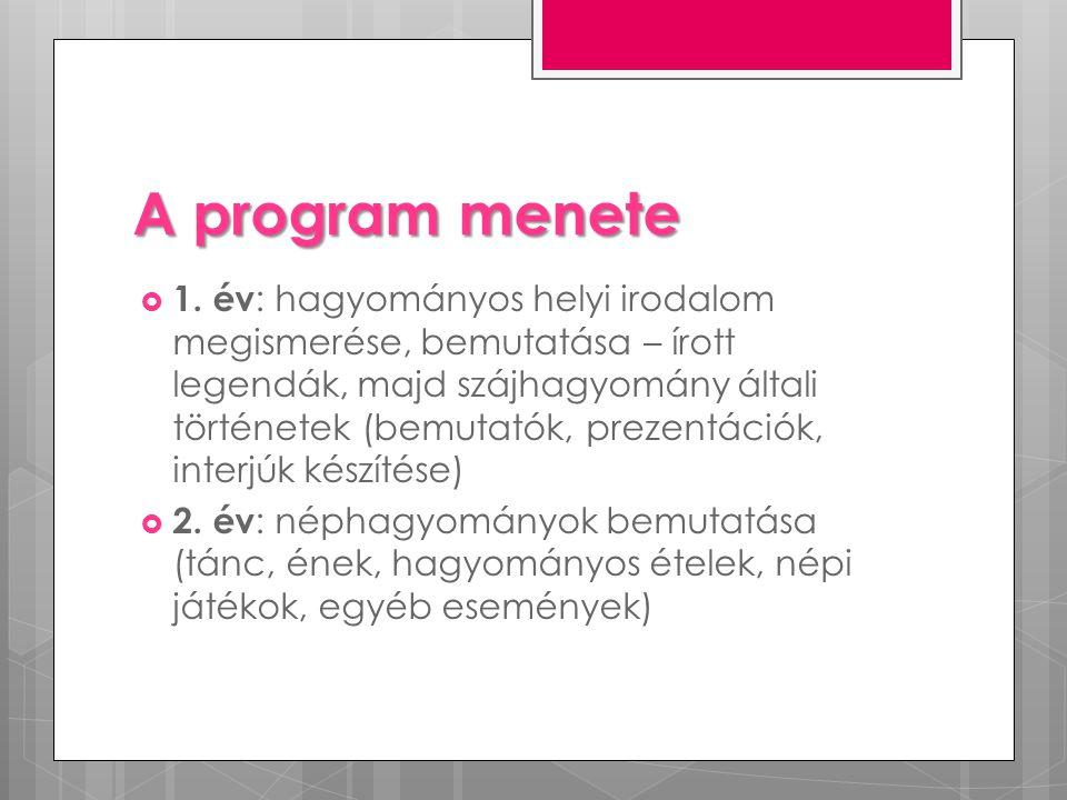 A program menete  1. év : hagyományos helyi irodalom megismerése, bemutatása – írott legendák, majd szájhagyomány általi történetek (bemutatók, preze