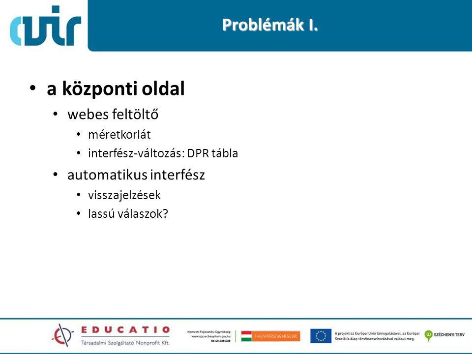 Problémák I. • a központi oldal • webes feltöltő • méretkorlát • interfész-változás: DPR tábla • automatikus interfész • visszajelzések • lassú válasz