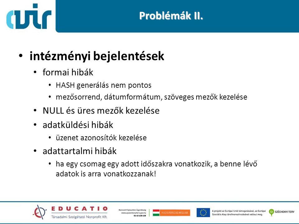 Problémák II. • intézményi bejelentések • formai hibák • HASH generálás nem pontos • mezősorrend, dátumformátum, szöveges mezők kezelése • NULL és üre