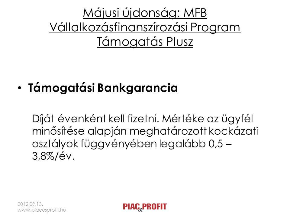 Májusi újdonság: MFB Vállalkozásfinanszírozási Program Támogatás Plusz • Támogatási Bankgarancia Díját évenként kell fizetni. Mértéke az ügyfél minősí