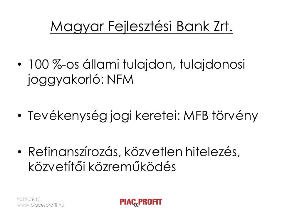 Magyar Fejlesztési Bank Zrt. • 100 %-os állami tulajdon, tulajdonosi joggyakorló: NFM • Tevékenység jogi keretei: MFB törvény • Refinanszírozás, közve