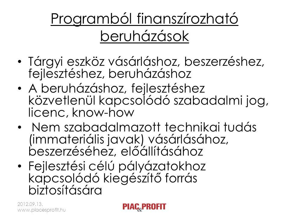 Támogatási kategóriák • Csekély összegű támogatás – Az elmúlt három évben legfeljebb 100 ezer (közúti árufuvarozók), illetve 200 ezer euró támogatás – 10 százalék sajáterő (lehet támogatott forrás) • Regionális csoportmentességi támogatás – A projekt támogatásintenzitását vizsgálják – 25 százalék sajáterő (csak piaci árazású forrásból) 2012.09.13.