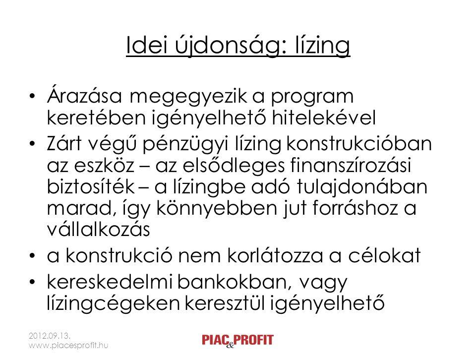 Idei újdonság: lízing • Árazása megegyezik a program keretében igényelhető hitelekével • Zárt végű pénzügyi lízing konstrukcióban az eszköz – az elsőd
