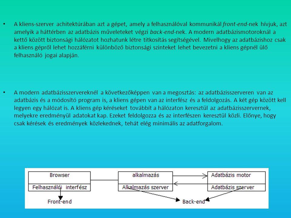 • A kliens-szerver achitektúrában azt a gépet, amely a felhasználóval kommunikál front-end-nek hívjuk, azt amelyik a háttérben az adatbázis műveleteke