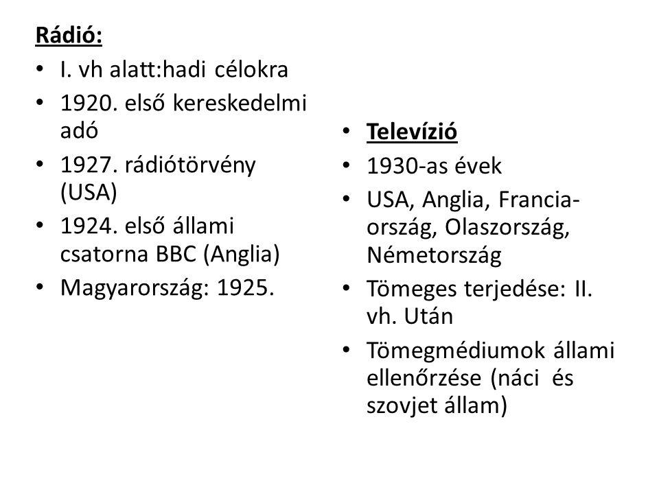 Rádió: • I. vh alatt:hadi célokra • 1920. első kereskedelmi adó • 1927. rádiótörvény (USA) • 1924. első állami csatorna BBC (Anglia) • Magyarország: 1