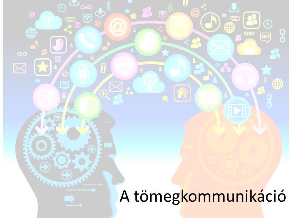 • Közvetett • Nagy mennyiségű információ – rövid idő alatt – sok emberhez • Eszközei: sajtó, rádió, televízió, internet,… Jellemzői: • Intézményesített, ipari módszerek, szakemberek, szerkesztett, gondosan csomagolt • Tömegkommunikációs eszközön (médián) keresztül