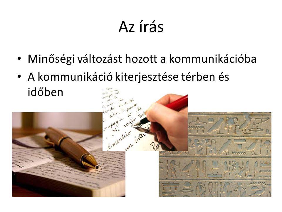 Az írás • Minőségi változást hozott a kommunikációba • A kommunikáció kiterjesztése térben és időben