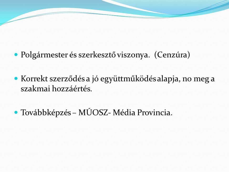  Polgármester és szerkesztő viszonya. (Cenzúra)  Korrekt szerződés a jó együttműködés alapja, no meg a szakmai hozzáértés.  Továbbképzés – MÚOSZ- M