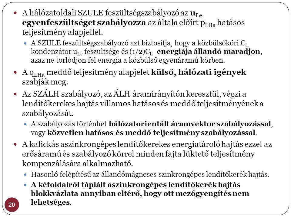 20  A hálózatoldali SZULE feszültségszabályozó az u Le egyenfeszültséget szabályozza az általa előírt p LHa hatásos teljesítmény alapjellel.  A SZUL