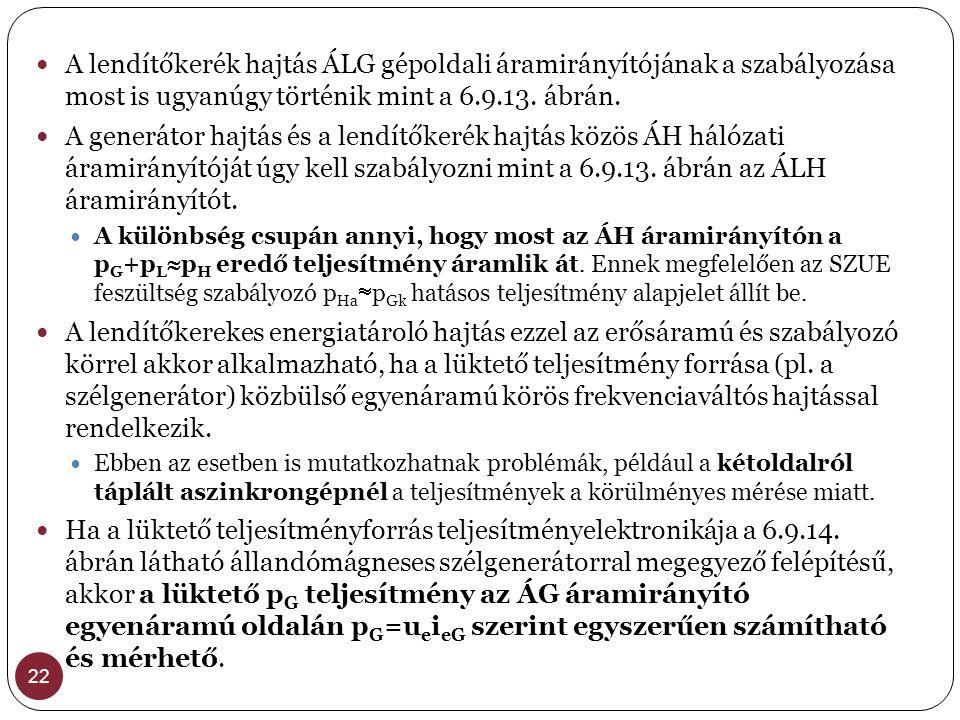 22  A lendítőkerék hajtás ÁLG gépoldali áramirányítójának a szabályozása most is ugyanúgy történik mint a 6.9.13. ábrán.  A generátor hajtás és a le