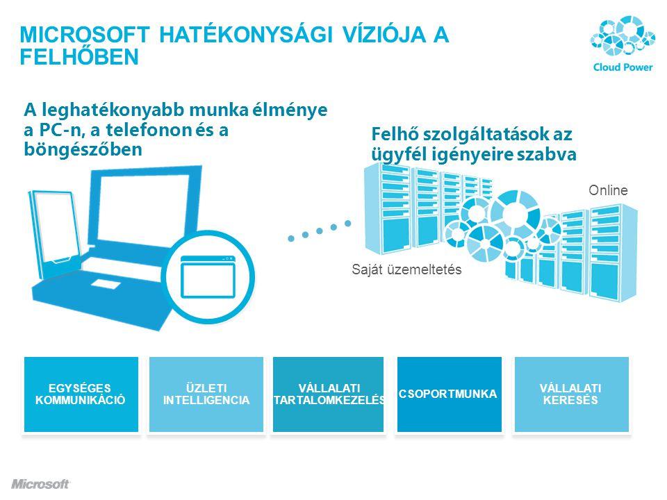 A MICROSOFT SAAS SZOLGÁLTATÁSAI Nagyvállalati színvonalú informatikai szolgáltatások együttese, melyek havi előfizetésben vásárolhatók meg.