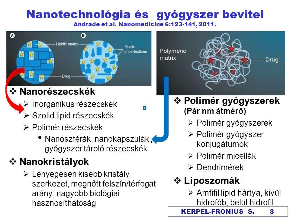 Nanorészecskék szöveti penetrációja Andrade et al.