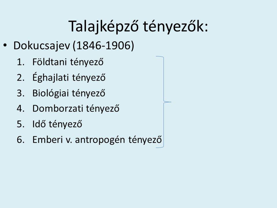 Talajképző tényezők: • Dokucsajev (1846-1906) 1.Földtani tényező 2.Éghajlati tényező 3.Biológiai tényező 4.Domborzati tényező 5.Idő tényező 6.Emberi v
