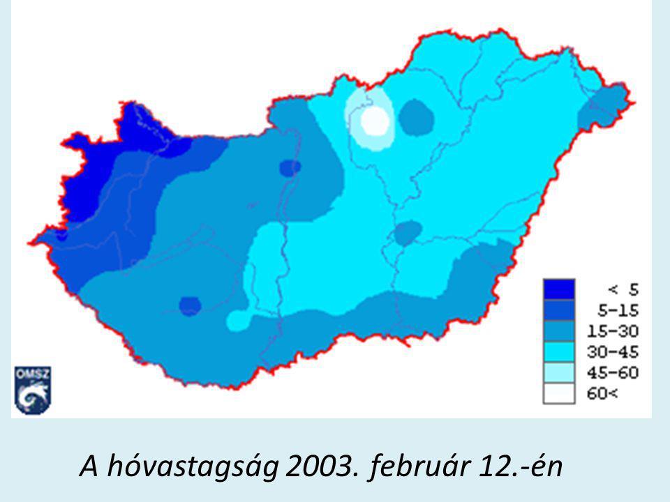 A hóvastagság 2003. február 12.-én