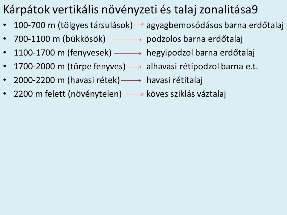 Kárpátok vertikális növényzeti és talaj zonalitása9 • 100-700 m (tölgyes társulások) agyagbemosódásos barna erdőtalaj • 700-1100 m (bükkösök)podzolos