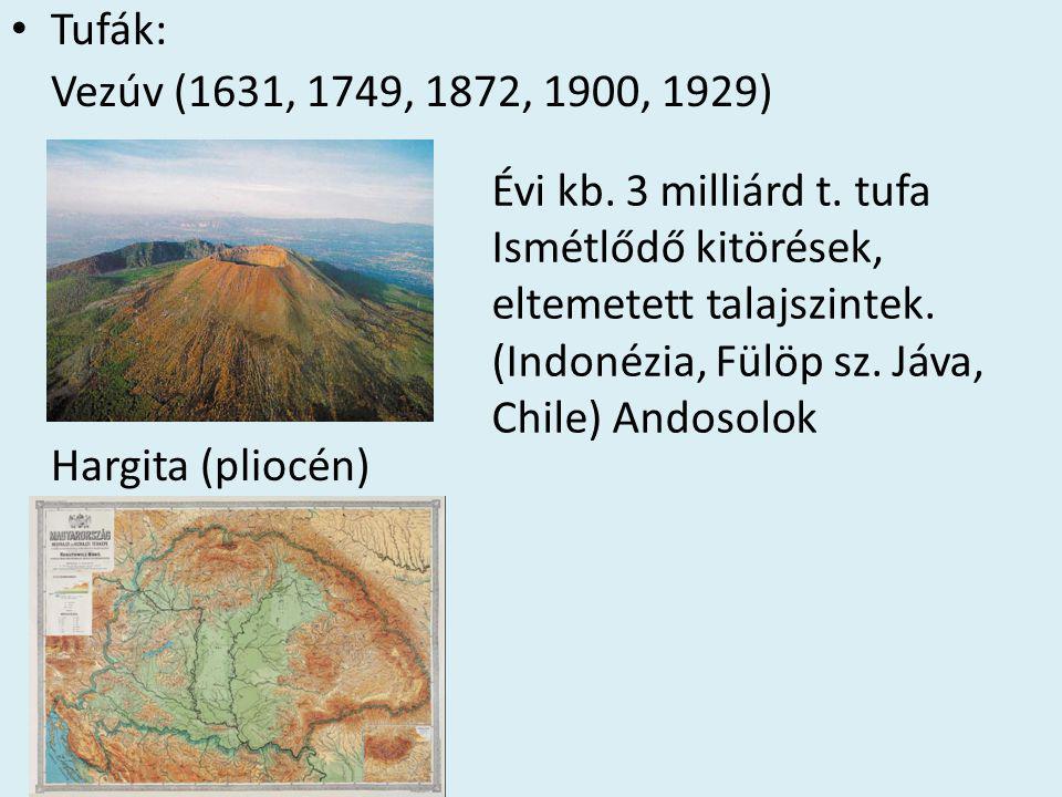 • Tufák: Vezúv (1631, 1749, 1872, 1900, 1929) Hargita (pliocén) Évi kb. 3 milliárd t. tufa Ismétlődő kitörések, eltemetett talajszintek. (Indonézia, F