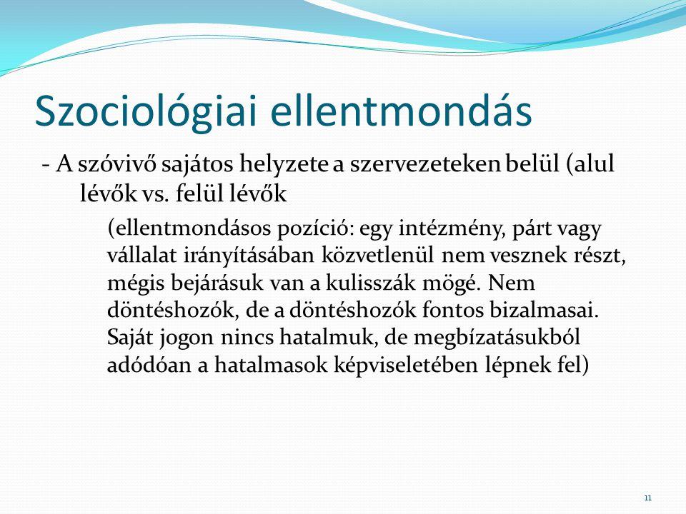 Szociológiai ellentmondás - A szóvivő sajátos helyzete a szervezeteken belül (alul lévők vs.