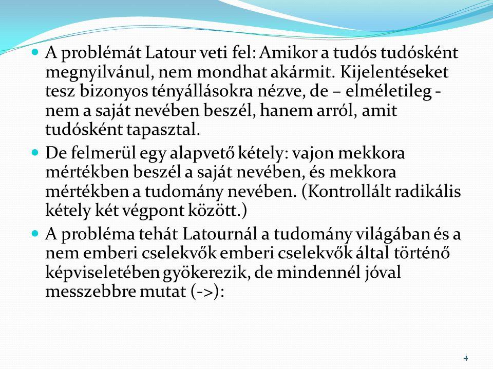  A problémát Latour veti fel: Amikor a tudós tudósként megnyilvánul, nem mondhat akármit.