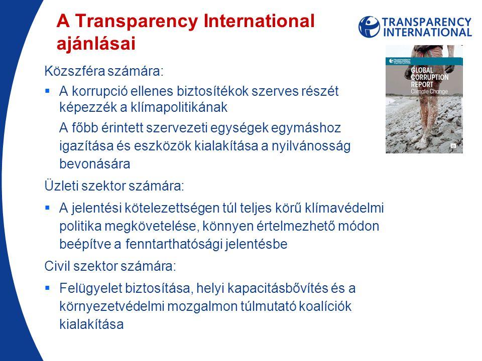 A Transparency International ajánlásai Közszféra számára:  A korrupció ellenes biztosítékok szerves részét képezzék a klímapolitikának A főbb érintett szervezeti egységek egymáshoz igazítása és eszközök kialakítása a nyilvánosság bevonására Üzleti szektor számára:  A jelentési kötelezettségen túl teljes körű klímavédelmi politika megkövetelése, könnyen értelmezhető módon beépítve a fenntarthatósági jelentésbe Civil szektor számára:  Felügyelet biztosítása, helyi kapacitásbővítés és a környezetvédelmi mozgalmon túlmutató koalíciók kialakítása