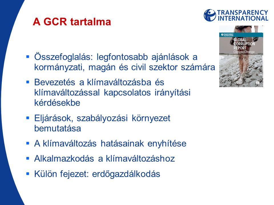 A GCR tartalma  Összefoglalás: legfontosabb ajánlások a kormányzati, magán és civil szektor számára  Bevezetés a klímaváltozásba és klímaváltozással kapcsolatos irányítási kérdésekbe  Eljárások, szabályozási környezet bemutatása  A klímaváltozás hatásainak enyhítése  Alkalmazkodás a klímaváltozáshoz  Külön fejezet: erdőgazdálkodás