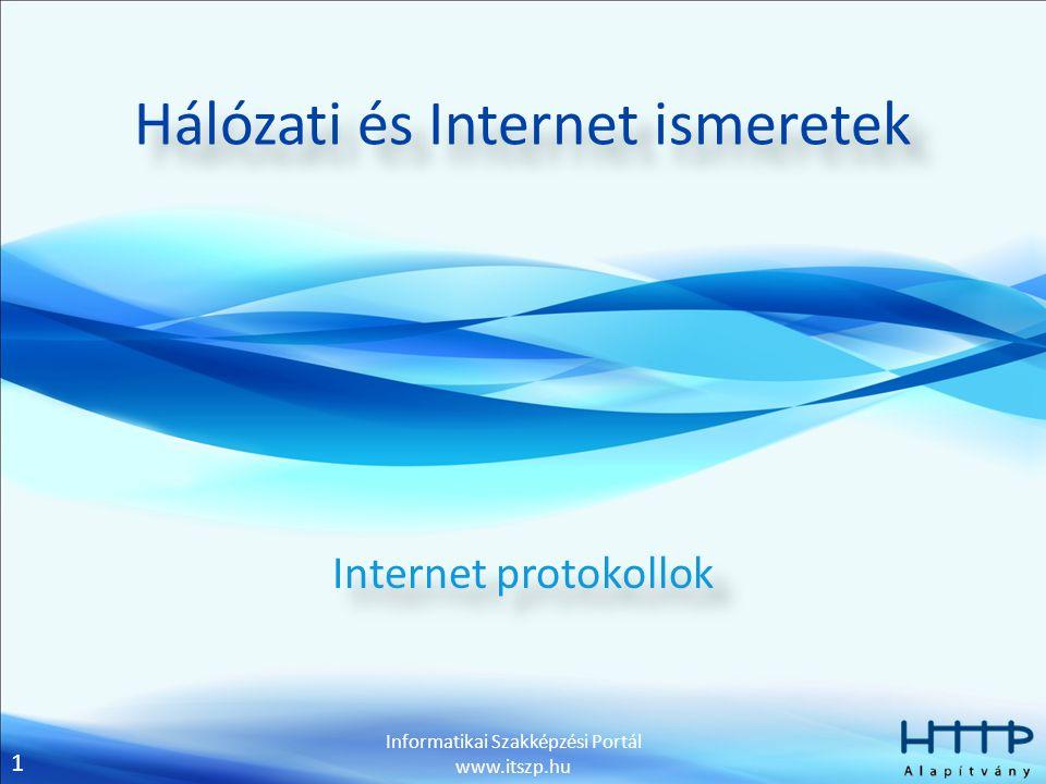 1 Informatikai Szakképzési Portál www.itszp.hu Hálózati és Internet ismeretek Internet protokollok