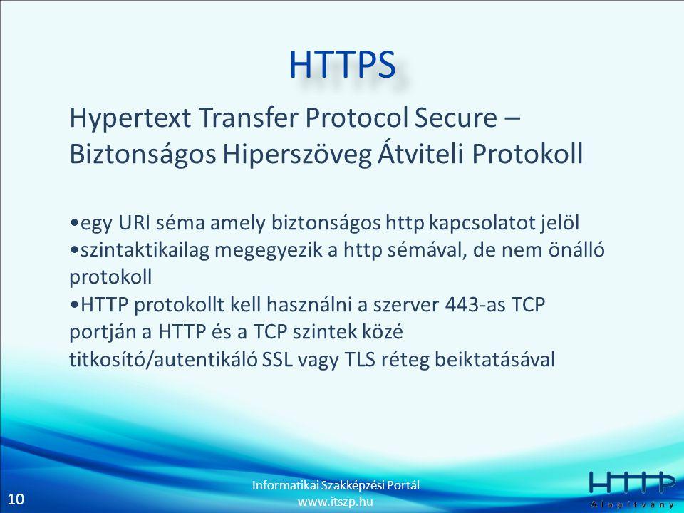 10 Informatikai Szakképzési Portál www.itszp.hu HTTPS Hypertext Transfer Protocol Secure – Biztonságos Hiperszöveg Átviteli Protokoll •egy URI séma amely biztonságos http kapcsolatot jelöl •szintaktikailag megegyezik a http sémával, de nem önálló protokoll •HTTP protokollt kell használni a szerver 443-as TCP portján a HTTP és a TCP szintek közé titkosító/autentikáló SSL vagy TLS réteg beiktatásával