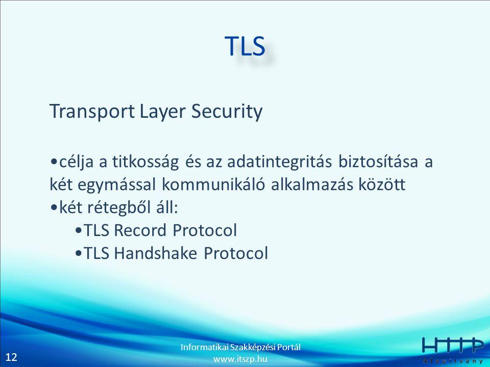 12 Informatikai Szakképzési Portál www.itszp.hu TLS Transport Layer Security •célja a titkosság és az adatintegritás biztosítása a két egymással kommunikáló alkalmazás között •két rétegből áll: •TLS Record Protocol •TLS Handshake Protocol