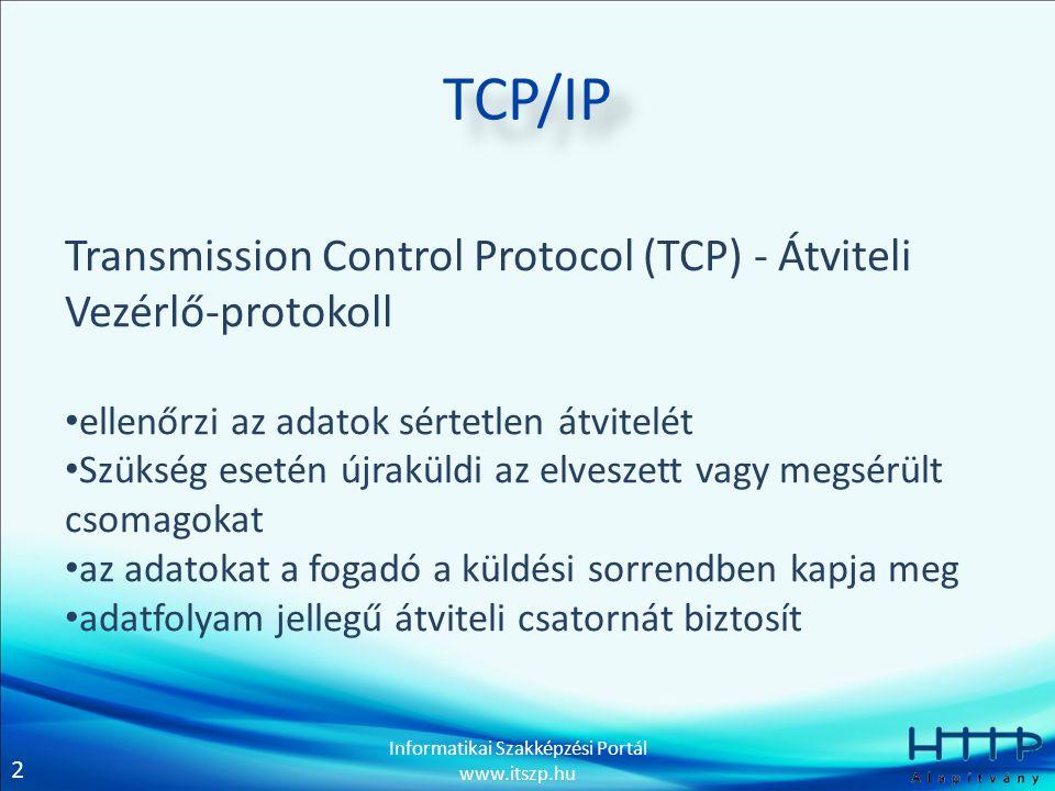 2 Informatikai Szakképzési Portál www.itszp.hu TCP/IP Transmission Control Protocol (TCP) - Átviteli Vezérlő-protokoll • ellenőrzi az adatok sértetlen átvitelét • Szükség esetén újraküldi az elveszett vagy megsérült csomagokat • az adatokat a fogadó a küldési sorrendben kapja meg • adatfolyam jellegű átviteli csatornát biztosít