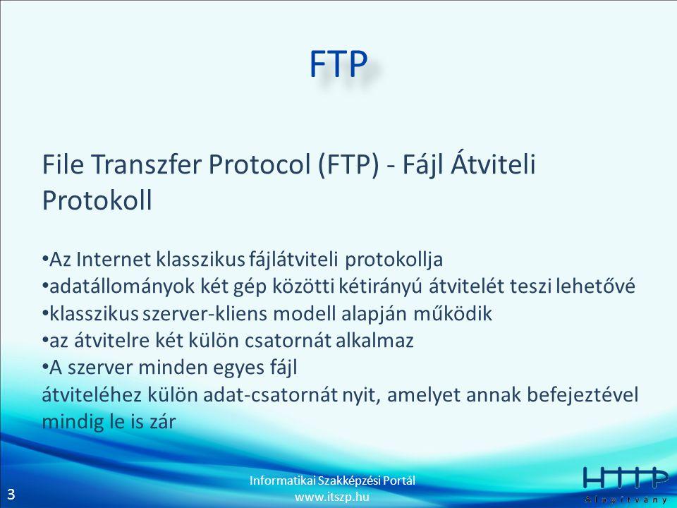 3 Informatikai Szakképzési Portál www.itszp.hu FTP File Transzfer Protocol (FTP) - Fájl Átviteli Protokoll • Az Internet klasszikus fájlátviteli protokollja • adatállományok két gép közötti kétirányú átvitelét teszi lehetővé • klasszikus szerver-kliens modell alapján működik • az átvitelre két külön csatornát alkalmaz • A szerver minden egyes fájl átviteléhez külön adat-csatornát nyit, amelyet annak befejeztével mindig le is zár