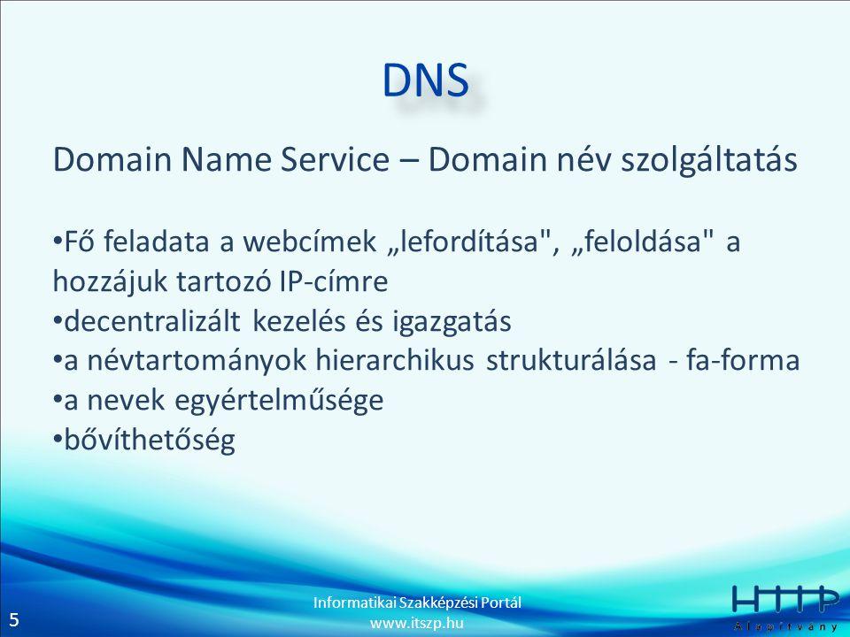 """5 Informatikai Szakképzési Portál www.itszp.hu DNS Domain Name Service – Domain név szolgáltatás • Fő feladata a webcímek """"lefordítása , """"feloldása a hozzájuk tartozó IP-címre • decentralizált kezelés és igazgatás • a névtartományok hierarchikus strukturálása - fa-forma • a nevek egyértelműsége • bővíthetőség"""
