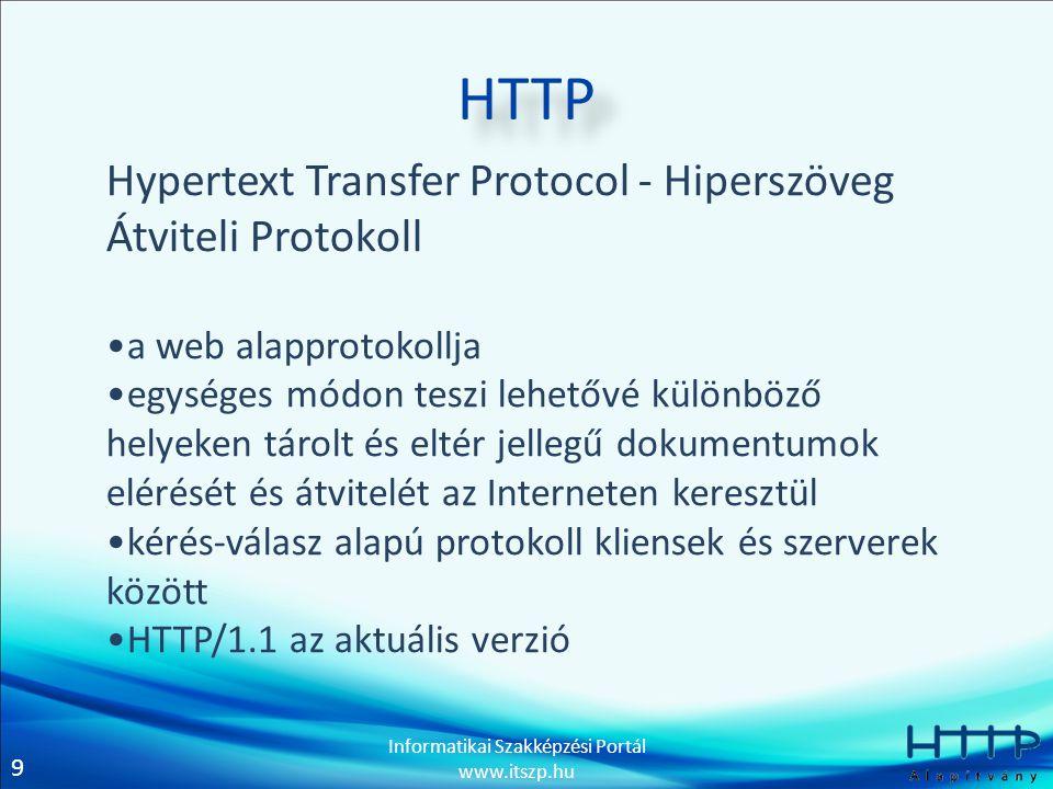 9 Informatikai Szakképzési Portál www.itszp.hu HTTP Hypertext Transfer Protocol - Hiperszöveg Átviteli Protokoll •a web alapprotokollja •egységes módon teszi lehetővé különböző helyeken tárolt és eltér jellegű dokumentumok elérését és átvitelét az Interneten keresztül •kérés-válasz alapú protokoll kliensek és szerverek között •HTTP/1.1 az aktuális verzió